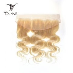 TD Hair 613 Blonde Remy Brazilian Body Wave 13*4 Swiss Transparent Lace Frontal Closure 100% Human Hair Extension Pre Pluncked Natural Hairline With B