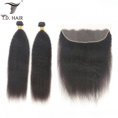 TD Hair 2PCS/Pack Kinky Straight Remy Brazilian Bundles With 13x4 Transparent Swiss Lace Frontal For Black Women Weave Hair Extension