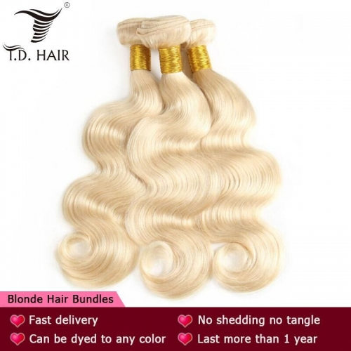 TD Hair 613 Blonde Color 3PCS Remy Body Wave Bundles Weaving 100% Brazilian Human Hair Extensions 10-30 Inches