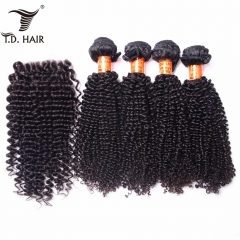 TD Hair 4PCS/Pack Kinky Curly Peruvian Remy Bundles With 4x4 Swiss Lace Closure Pre Plucked Hair Line Extensions Baby Hairline 100% Human Hair