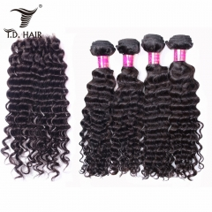 TD Hair 4PCS Deep Wave Malaysia Remy Weave Bundles With 4*4 Transparent Swiss Lace Closure Pre Plucked Hair Line Extensions