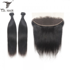 TD Hair 2PCS Brazilian Remy Straight Bundles With 13x4 Transparent Swiss Lace Frontal Weaves Unprocessed Weaving 100% Human Hair 9A Grade