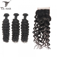 TD Hair 3PCS Brazilian Remy Water Wave Bundles With 4x4 Swiss Lace Closure Natural Color 100% Human Hair Cuticle Aligned