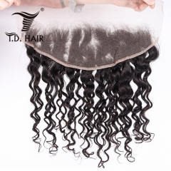 TD Hair Peruvian Remy Water Wave 13x4 Swiss Transparent Lace Frontal 1B# Natural Color 100% Human Hair Pre Pluncked Natural Hairline With Baby Hair