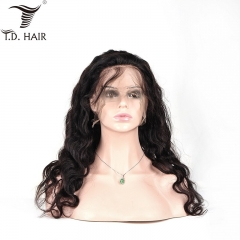 TD Hair Full Swiss Lace Body Wave Wigs 100% Human Hair 1B# Natural Color Pre-Plucked Bleached Knots Brazilian Remy Hair Wig Full End With Baby Hair