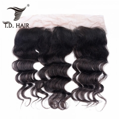 TD Hair Grade 9A Remy Brazilian Loose Wave 13*4 Transparent Swiss Frontal Human Hair Extension Pre Pluncked Natural Hairline With Baby Hair
