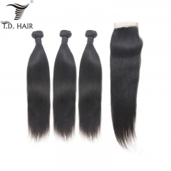 TD Hair Grade 9A Brazilian Straight Weave Bundles With 4*4 Transparent Swiss Lace Closure 100% Human Hair Natural Color