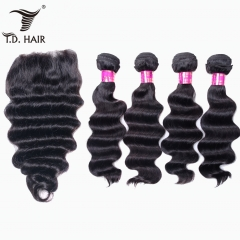 TD Hair 4PCS Loose Wave Remy Malaysia Bundles With 4*4 Transparent Lace Closure 100% Human Hair Pre Plucked Hair Line 1B# Natural Color