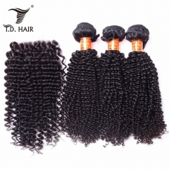 TD Hair 3PCS/Pack Kinky Curly Brazilian Remy Bundles With 4x4 Swiss Lace Closure Pre Plucked Hair Line Extensions Free Part 100% Human Hair