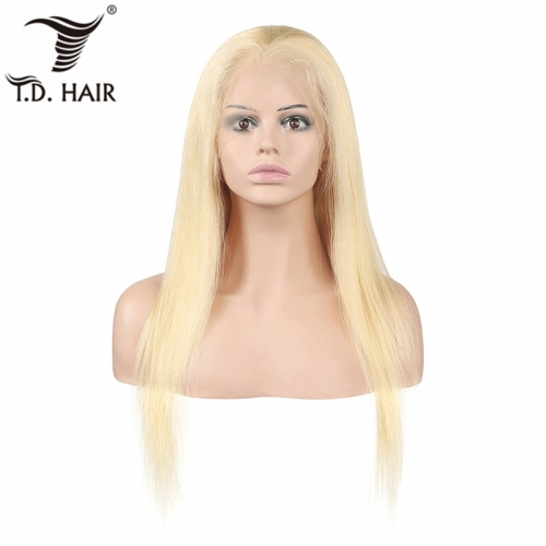 TD Hair Blonde 613 Color Full Swiss Lace Wigs 150% Density Silky Straight Human Hair Wig High Ratio Remy Pre Pluck