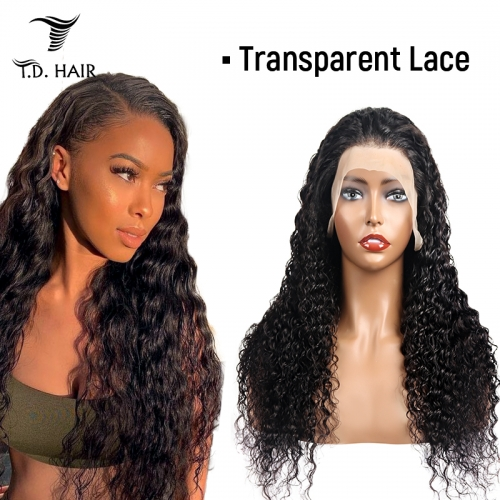 TD Hair Deep Wave 13*4 Frontal Transparent Swiss Lace Wigs 180% Density 100% Human Hair With Baby Hair For Black Women Pre Plucked Hairline