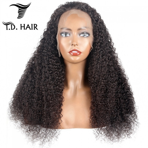 TD Hair 150% 180% Density Kinky Curly 13*4 Frontal Transparent Lace Wigs 100% Human Hair Wig For Black Women Pre Plucked Hairline