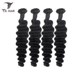 TD Hair 4PCS Malaysia Remy Deep Wave Weaving Bundles 1B# Natural Color Black Cuticle Aligned 100% Human Hair Weave