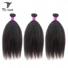 TD Hair 3PCS/Pack Brazilian Remy Kinky Straight Hair Bundles Weave 1B# Natural Color Black Human Hair Extensions