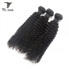 TD Hair 3PCS Kinky Curly Wave Remy Bundles Weaving 100% Human Hair 1B# Natural Color For Black Women