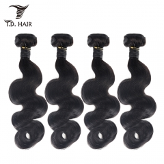 TD Hair 4PCS Body Wave Brazilian Remy Human Hair Bundles Weaving 1B# Natural Color Black 100% Human Hair Extensions