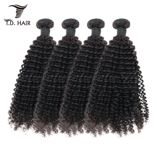 TD Hair 4PCS Indian Remy Kinky Curly Human Hair Bundles 1B# Natural Color Extensions Unprocessed Weaving