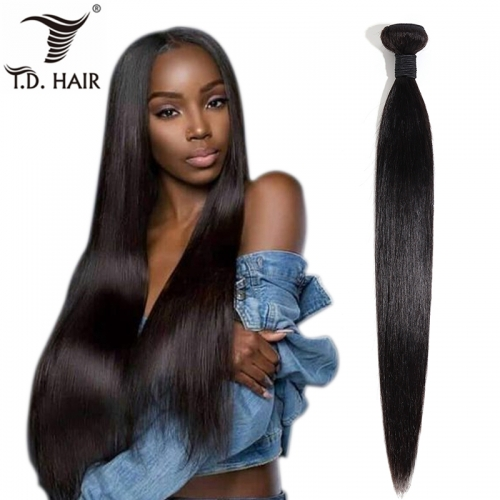 TD Hair 1PCS Straight Wave 100% Human Remy Brazilian Hair Bundles Weaves Weaving 1B# Natural Black Hair Extension 10-30 Inches