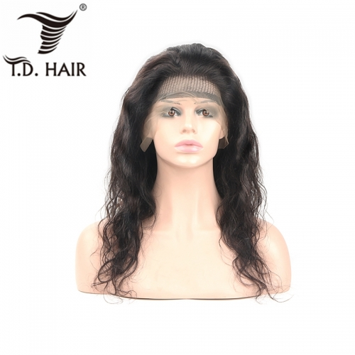 TD Hair Body Wave 13*4 Frontal Swiss Transparent Lace Wig 150% 180% Density With Baby Hair Peruvian Brazilian Wigs Remy Natural Human Hair