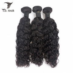 TD Hair 3PCS/Pack Remy Peruvian Water Wave Bundles Weaving Cuticle Aligned Hair 1B# Natural Color Black For Black Women