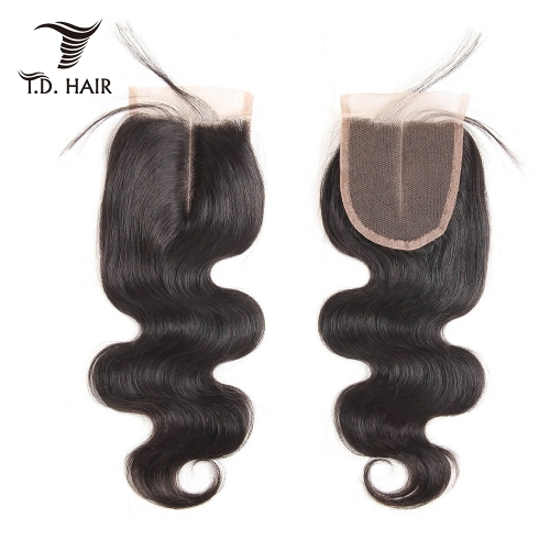 TD Hair 100% Peruvian Human Hair Body Wave 4*4 Transparent Swiss Lace Closure 10-20 Inch Free Part Natural Color With Baby Hair