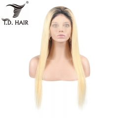 TD Hair 1B# 613 Full Swiss Transparent Lace Wigs 100% Human Hair Brazilian Wig Remy Hair 150% Density Ombre