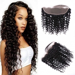 TD Hair 13*4 Transparent Swiss Lace Frontal Deep Wave 1B# Black Color Brazilian Remy Hair Extension Pre Pluncked Natural Hairline With Baby Hair