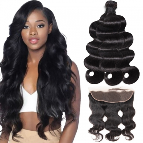 TD Hair 3PCS Brazilian Peruvian Body Wave 9A Grade Remy Bundles With 13*4 Swiss Transparent Lace Frontal 100% Human Hair
