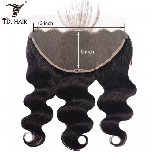TD Hair Natural Color Black 1B#  Brazilian Body Wave 13x6 Transparent Swiss Lace Frontal 100% Human Hair With Baby Hair