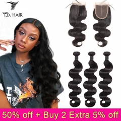 TD Hair 3PCS Malaysian Remy Body Wave Bundles With 4*4 Transparent Swiss Lace Closure 100% Human Hair Weaving Pre Plucked Hair Line Extensions