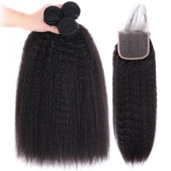 TD Hair 3PCS Kinky Straight Brazilian Remy Hair Weaving Bundles With 4*4 Swiss Lace Closure Pre Plucked Natural Hairline With Baby Hair