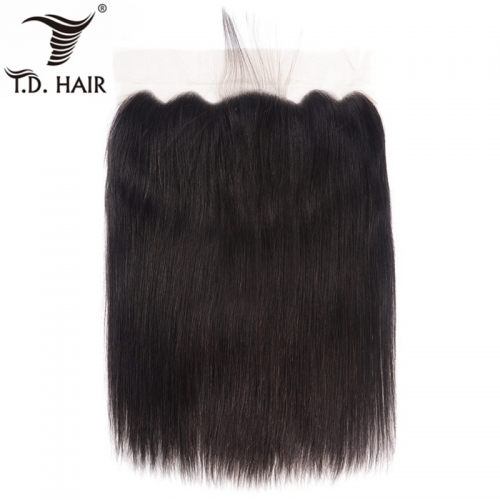 TD Hair 13*6 Transparent Swiss Lace Frontal Black Color 1B# Brazilian Remy Straight Hair Extension Pre Pluncked Natural Hairline With Baby Hair