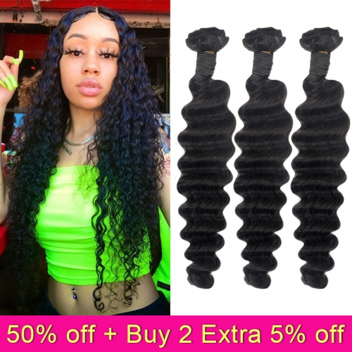 TD Hair 3PCS/Pack Deep Wave Peruvian Human Hair Weaving Bundles 1B# Natural Black Color Raw Cuticle Aligned