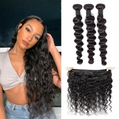 TD Hair 3PCS Brazilian Remy Loose Wave Bundles Weaving 1B# Natrual Black Color Cuticle Aligned 100% Human Hair