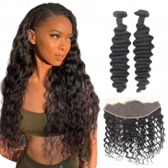 TD Hair 2PCS/Pack India Remy Deep Wave Bundles With 13*4 Swiss Lace Frontal Natural Pre Plucked Hair Line Cuticle Aligned