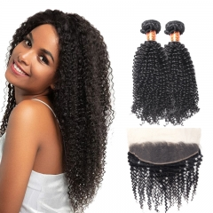 TD Hair 2PCS/Pack Peruvian Kinky Curly Remy Bundles With 13*4 Swiss Transparent Lace Frontal Natural Pre Plucked Hair Line Cuticle Aligned