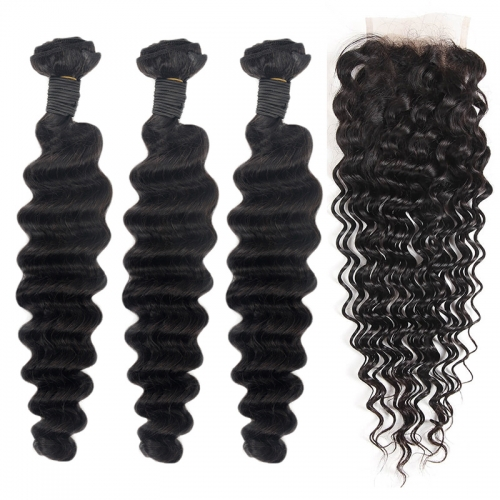 TD Hair 3PCS Deep Wave Brazilian Remy Weave Bundles With 4*4 Transparent Swiss Lace Closure Pre Plucked Hair Line Extensions