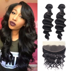 TD Hair 2PCS Peruvian Remy Loose Wave Bundles With 13*4 Swiss Lace Frontal Pre Plucked Natural Hair Line Unprocessed Cuticle Aligned