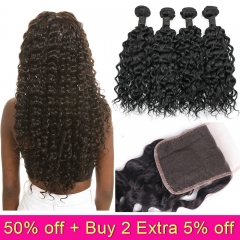 TD Hair 4PCS Peruvian Remy Water Wave Bundles With 4x4 Swiss Lace Closure Natural Color 100% Human Hair Cuticle Aligned